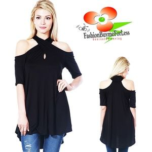 Black Gypsy Short Sleeve Halter Tunic Swing Top